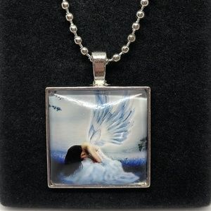 Crying Angel Glass Tile Pendant Necklace